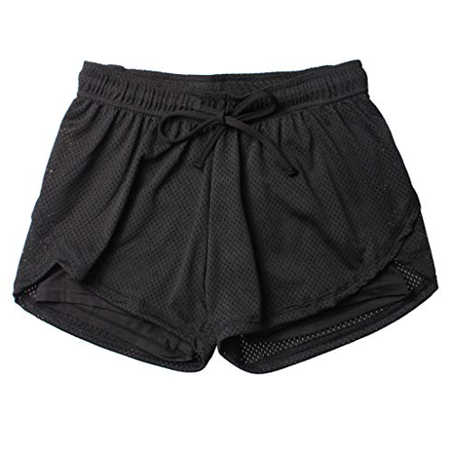 cinnamou Doppellagige Yoga-Shorts Damen-Sporthose Anti Emptied Quick-Dry Short Pants Outdoor Fitness
