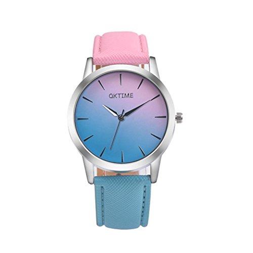 Coolster Unisex Damen Chic Regenbogen Lederband Armbanduhr Armband (Rosa)