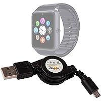 DURAGADGET Cable MicroUSB Retráctil Para Smartwatch Mobiper G08 - ¡Perfecto Para Pasar Sus Datos Al PC!