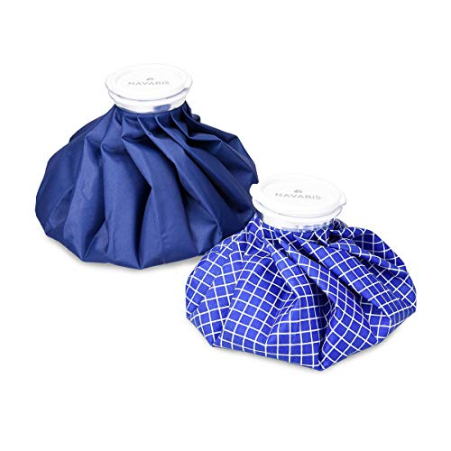 Navaris Kühlbeutel & Wärmflasche Set - 2 Größen warm und kalt - Kühlpads Eisbeutel Kältetherapie für Fuß Knie Kühlkissen Blau Blau-Weiß