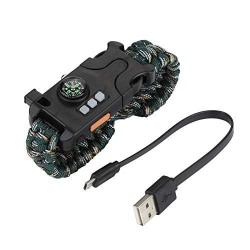 Alomejor Notfall Paracord Armband Multifunktionale Outdoor Survival Paracord Armband mit Whistl Mini Compass Led Taschenlampe für Outdoor Sportarten(Desert Camo) -