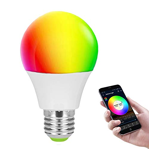 WiFi Smart Light Glühbirne, dimmbar, multicolor, Wake-Up Lichter, kein Hub erforderlich, kompatibel mit Alexa und Google Assistant, E27