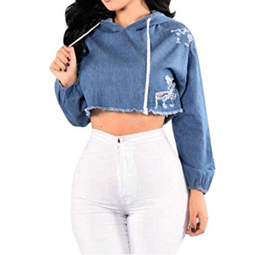 Damen Sweatshirt ,LMMVP Frauen Langarm Jean Pullover (Blue, M) (Crew-jersey-jeans)