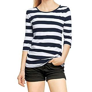 Allegra K Women's Half Length Sleeves Bold Striped Tee Shirt M Dark Blue White