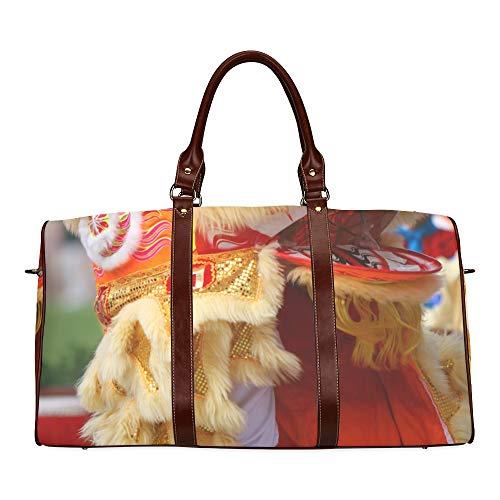 Reisetasche Dancing Lion Chinese New Year Parade wasserdichte Weekender-Tasche Reisetasche Frauen Damen-Einkaufstasche Mit Mikrofaser-Leder-Gepäcktasche (Einfach Lion Kostüm Für Frauen)
