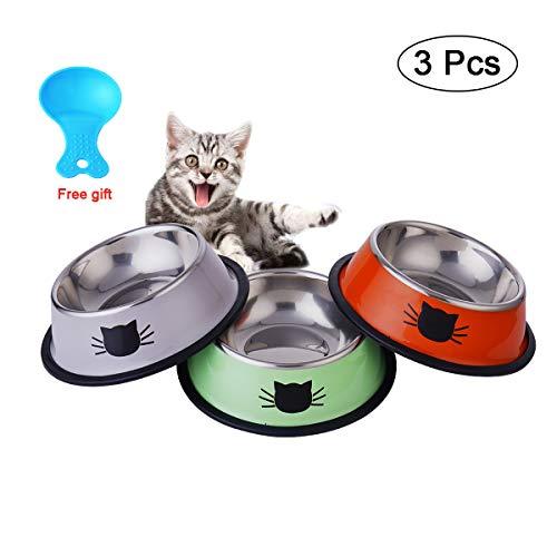 katzennapf, Futternapf katze - 3 Stück katzennapf Edelstahl Katzen Napf Set, Kätzchen Teller Schüssel mit Nettem Katzen Gesicht - Rutschfeste Katzenfutter Wasserschale für Katze Kleine Hunde Tiere