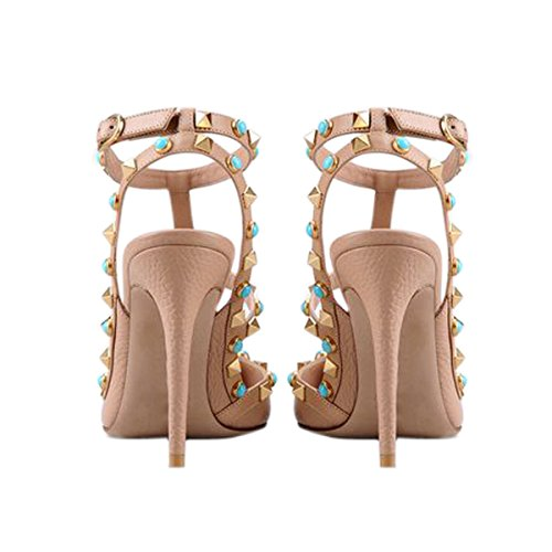 Onlymaker Damen Sandalen Pumps Pointed Toe High Heels mit Nieten Slingback Schnalle Beige