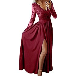 2019 SS Vestido de Fiesta con Hombros Descubiertos Vestidos Elegantes para Mujer, Women Deep V-Neck Lace Long Sleeve Evening Party Ball Prom Wedding Long Dress