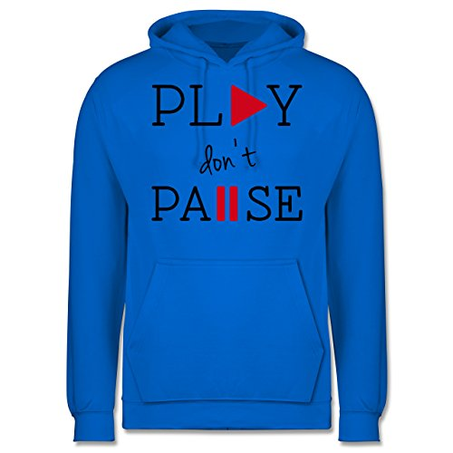 Statement Shirts - Play don't Pause - Männer Premium Kapuzenpullover /  Hoodie Himmelblau