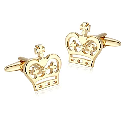 Gnzoe Herren Manschettenknöpfe Edelstahl Gold Hohl Prinzessin Krone Form Hemd Manschetten Knöpfe mit (Prinzessin Set Manschettenknöpfe)