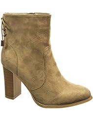 Angkorly - Zapatillas de Moda Botines low boots mujer nodo Talón Tacón ancho alto 9 CM - plantilla Forrada de Piel - Beige