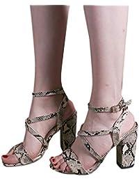 19fe49e0 iHAZA- Zapatos Tacon Mujer Moda Mujer Pescado Boca Hebilla Correa Sandalias  Tacones Altos Partido Zapato