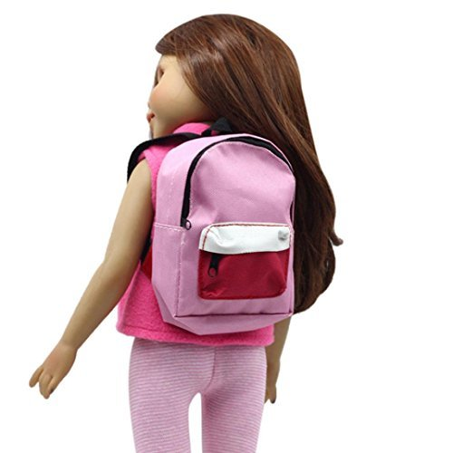 Doll Backpack for 18 inch American Girl Doll Our Generation Cuekondy Cute Double Straps Schoolbag Doll Accessories (Pink)