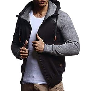 LEIF NELSON Herren Freizeitjacke-Hoodie Kaputze | Moderne Sweatjacke-Kapuzenpullover | Männer Jacke Slim Fit LN8250