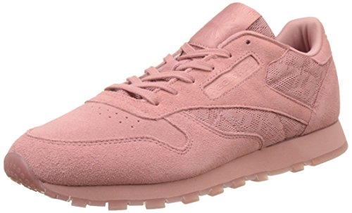 Reebok Damen Classic Leather Lace Sneaker, Pink (Grey Sandy Rose/White), 37.5 EU - Classic Leather Lace