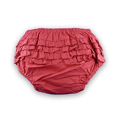 Baby Bloomer - Baby Höschen, Pumphöschen, hinten gerüscht, Rot, Boy/Girl, Größe L, 18-24 Monate, 100% Baumwolle