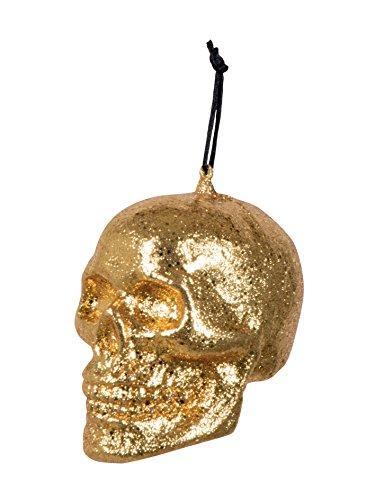 Boland 72008 - Deko-Figur Totenkopf Glitter, Dekorationen, Circa 10 x 8 cm, Gold