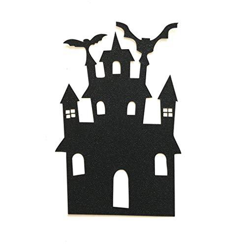 DERNON 1pcs Halloween Castle Cake Topper Halloween Cupcakes Flagge schwarz