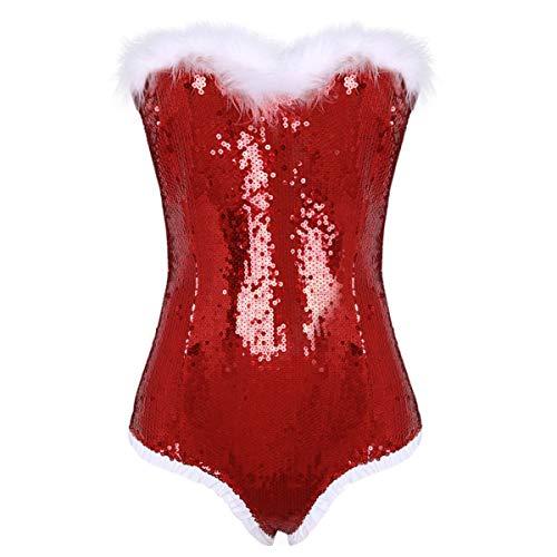Tiaobug Damen Mädchen Weihnachten Dessous Body Glänzende Pailletten Schulterfrei Bodysuit Frau Santa Claus Kostüm Teddy Cosplay Kostüm für Fasching Karneval Rot L(Taille 72cm)