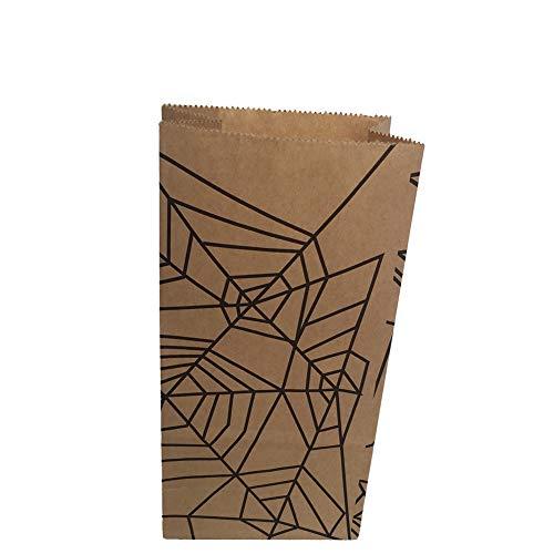 alloween Papiertüte Aufbewahrungstasche Kinder Partytüten zum Aufbewahren von Süßigkeiten Snacks (Spinnennetz Grafiken) ()