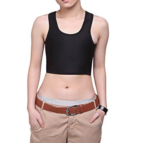 Damen Basic Brust Binder Trans Tank Top Korsetts T-shirt Hemd Bluse Schwarz EU 42/(Asian (Korsett Basic)
