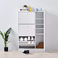Beshomethings 3 Tier Shoe Storage Cabinet,Wooden Cupboard Organizer Rack Stand Unit With Pull Down Door And Drawers for Hallway,Bedroom,Living Room