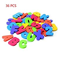36 PCS Numbers and Letters Puzzle Bath Toys Set Foam Bath Alphabet Letters and Numbers 0-9 with Mesh Bag Organiser Educational Bath Toys