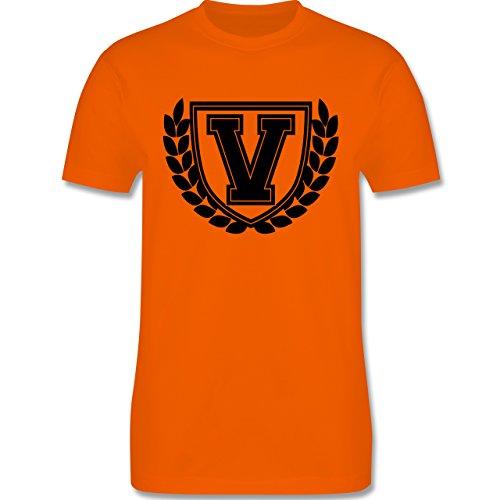 Anfangsbuchstaben - V Collegestyle - Herren Premium T-Shirt Orange