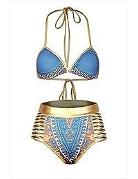 Amadoierly Europa Y Los Estados Unidos La Impresión De Bañadores Sexy Cuello Triángulo Bikini Bañador Cintura Dividido, Azul, Xl