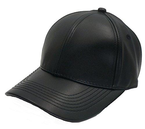 Roffatide PU Leder Baseballmütze Basecap Kunstleder Kappe Schirmmütze Hut Verstellbare Schwarz (Polo Stripe Performance Textured)