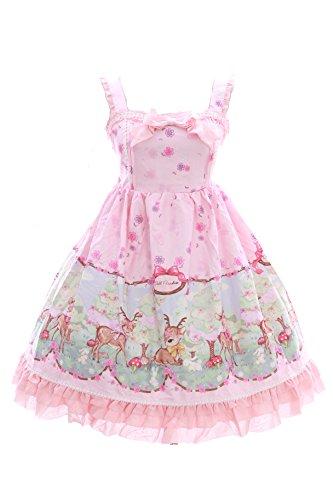 JSK-08 Baby Reh Deer Wald Blumen Rosa Pastel Gothic Lolita Kleid Stretch dress Cosplay Kawaii-Story