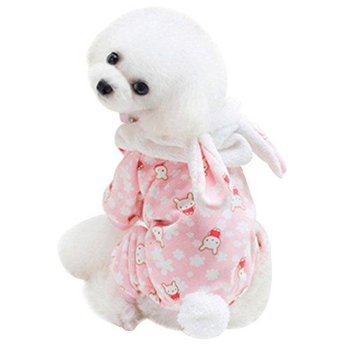 psuit mit Kapuze Haustier Gedruckt Wintermantel Kostüm Steppjacke Leicht Parka (Pink, L) (Eisbär Kostüm Für Hund)