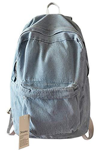 College-Schul-Denim-Rucksack, Studenten-Rucksack, für Schule und Teenager Blau hellblau 11.8 x 5.5 x 16.5 - Klassische Spandex-jeans