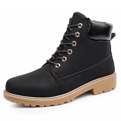 Men's Genuine Leather Lace Up Casual Shoes Black A