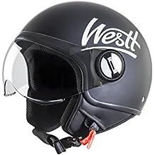 Westt® Classic · Casco de moto negro mate · ECE certificado · incluye bolsa · ideal para scooter choper moto · Cruiser Vintage Urbano Moto motocicleta Urban Biker Retro Vespa Bobber