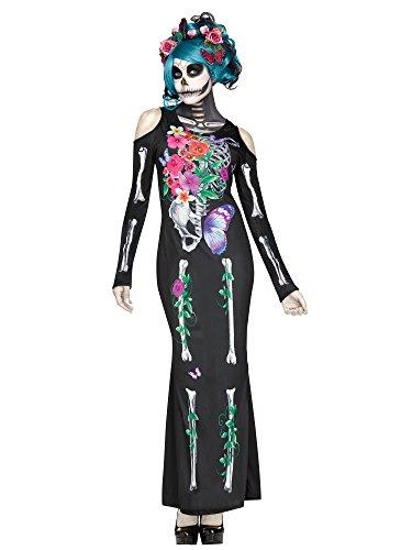 Unbekannt Tag der Toten Halloween-Damenkostüm Sugar Skull schwarz-bunt S / M