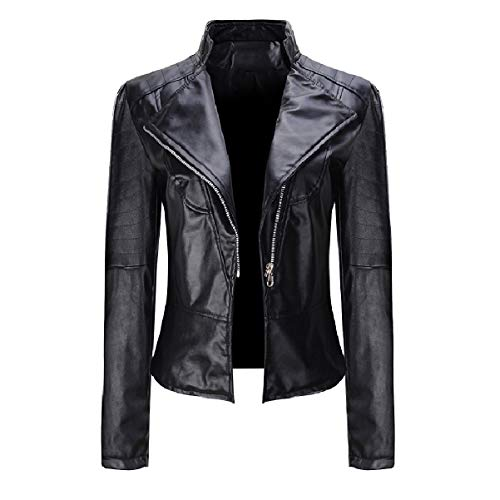 CuteRose Womens Biker Fashional Leather Trench Coat Faux Leather Jackets Black 2XL (Black Trench Womens Leather Coat)