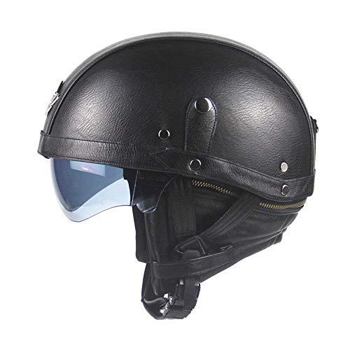 LYJNBB Halber Motorradhelm aus PU-Leder mit offenem Gesicht, Vintage Harley-Helme, mit Schnellverschluss für Sonnenblende für Bike Cruiser Scooter DOT,Black -