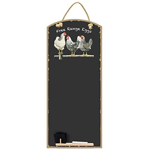 Chalkboards UK Kreidetafeln UK Schwarz und Weiß Hühner bedruckt hoch dünn Kreidetafel/Tafel/Memo Board/Küche Board mit Seil, Tablett und Kreide, Design Range, Holz, schwarz, 60x 26,5x 1cm