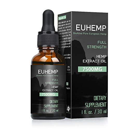 EUHEMP Hanföltropfen 7500MG, volle Stärke, mit Hanf angebaut in der Natur, Nicht-GVO, keine Füllstoffe, Tropfenzähler enthalten, 30ML