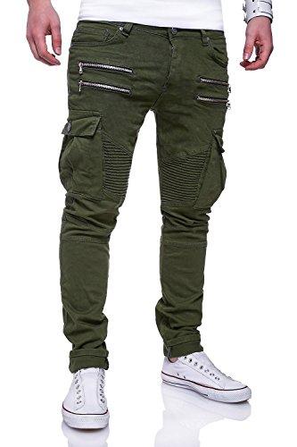 MT Styles Zipper Biker Jeans Slim Fit Hose RJ-3196 [Khaki, W33/L32] (Herren-jeans Khaki)