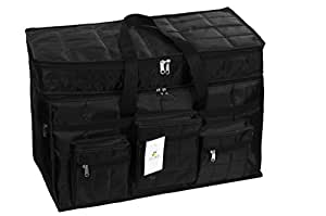 HomeStrap Parachute Jumbo Travel Duffle Bag, Storage Bag with 6 Additional Pockets- Black (Capacity in Ltrs)