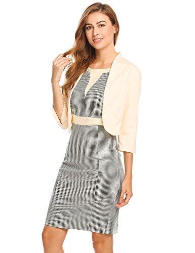 Damenjacke Elegant Mode Kurz Kragenlos kurzblazer Kurzjacke Bolero Jacke mit 3/4 Ärmel Beige