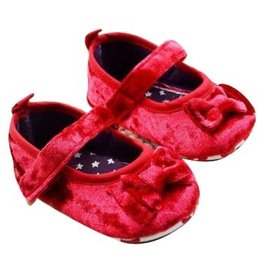 Baby Bucket Pre-Walker Shoes Velvet Material Light Weight Soft Sole Red Baby Girls Booties Shoes (0-6 Months)  available at amazon for Rs.360