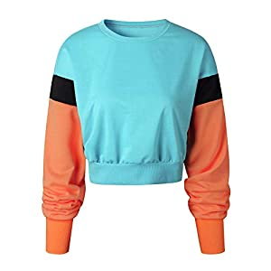 Festiday Under Armour Hoodies For Women Clearance Sale 2018 New Casual Women's Petite Henley Shirts Womens Long Sleeve Crop Tops Ladies Patchwork Pullover Hoodie Sweatshirt