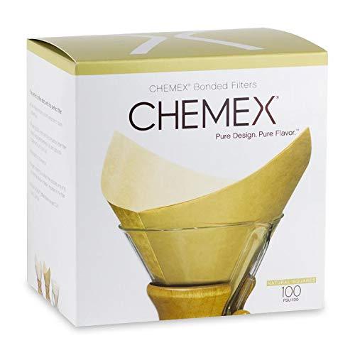 Chemex - Filtros de café cuadrados sin blanquear preplegados, 100 unidades