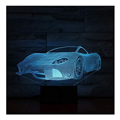 Cool Sports Car 7 Colores Cambian Lámpara 3D Acrílico Ilusión Óptica Con...