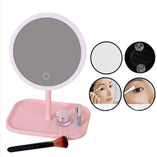 HAOHAOWU HD Kosmetikspiegel, LED-Spiegel Eitelkeitsspiegel DREI Farblicht tragbare einfache Desktop-USB-Aufladung,H