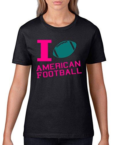 Comedy Shirts - I love American Football - Damen T-Shirt - Schwarz / Pink-Türkis Gr. XS