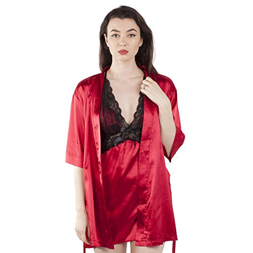 Ladies Satin 3 Piece, Dressing Gown / Robe, Chemise Slip / Nightdress and Thong Style 03